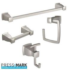 Hensley Press and Mark 4-Piece Bath Hardware Set with Towel Bar,Towel Ring, Paper Holder and Robe Hook in Brushed Nickel