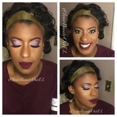 #redcarpetglam #mattelips #winelipcolor #purplesmokeyeyes #highlight #contour #weddingmakeup #glowing #prommakeup #makeupforwomenofcolor