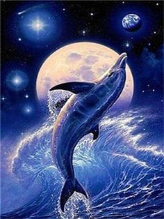 This Space Dolphin diamond painting kit has everything you need to create a masterpiece. Adhesive diamond painting canvas Square, diamond drills Drill placing pen with attachment Pink wax for sticking the drill to pen Tweezers Dolphin Painting, Dolphin Art, Beautiful Creatures, Animals Beautiful, Cute Animals, Orcas, Fantasy Kunst, Fantasy Art, Dolphins Tattoo