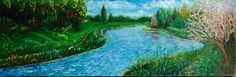 Geïnspireerd door Vincent van Gogh, Markdal bij Breda (NL). Olieverf op doek, 30x90 cm door Annerieke Smits-Vermeulen, 2015.