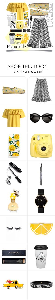 """""""Lemon Chic"""" by catcam13 ❤ liked on Polyvore featuring TOMS, Chicwish, Sonix, Fujifilm, Bobbi Brown Cosmetics, Urban Decay, Marc Jacobs, CLUSE, Violet Voss and Sloane Stationery"""