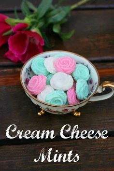 Old-fashioned cream cheese mints. Can be customized for graduations, baptisms, weddings, showers, and other celebrations.