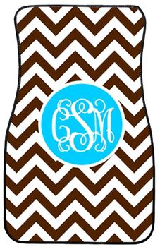 Monogrammed Car Mat Set www.tinytulip.com Brown Chevron with Solid Circle Turquoise Interlocking Font