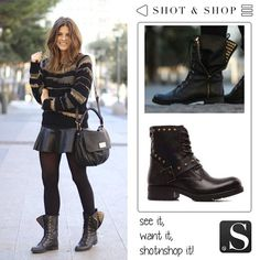 In love with Trendy Taste's new hair... and her biker boots! Searching with Shot & Shop, we have found a very similar model