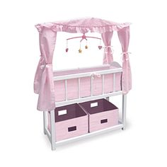 Baby Doll Crib With Canopy Baby Doll Accessories, with gingham bedding.