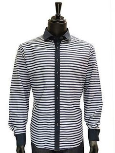 138023ab9b5c5 Lanzzino Mens Blue White Stripe Print Cotton Button Up Trendy Dress Party  Shirt Black And White