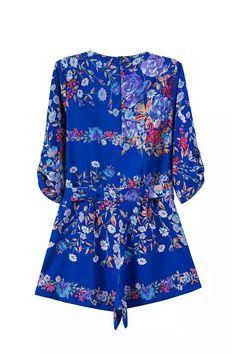 'Alison' Floral Print Blue Chiffon Criss Crop Wrap Front Playsuit Romper