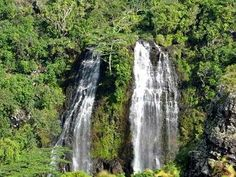 Opaekaa Falls, Kauai. Located on the east side of the island. Scenic viewpoint from the road.
