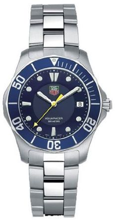 TAG Heuer Men's WAB1112.BA0801 2000 Aquaracer Quartz Watch TAG Heuer. $1381.05. Solid 38.4-mm stainless-steel case with engraved diver's helmet decorated caseback; Triple link combination brushed and polished stainless-steel bracelet with diving extension. Water-resistant to 984 feet (300 M). Date function at 3 o'clock; Blue dial. Precise Swiss ETA F06.111 quartz movement. Scratch-resistant sapphire crystal; Luminescent hands and markers; Unidirectional bezel wit...