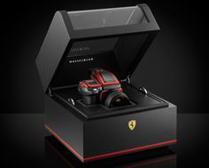 An interesting collaboration between Ferrari and Hasselblad for a limited edition camera. The camera utilizes Ferrari's classic red and iconic badging. What's also impressive is … Luxury Packaging, Packaging Design, Tea Packaging, Ferrari Logo, Expensive Camera, Medium Format Camera, Design Poster, Branding, Gifts