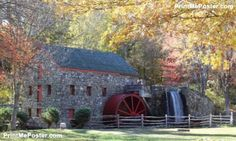 The Old Grist Mill In Fall poster #poster, #printmeposter, #mousepad, #tshirt