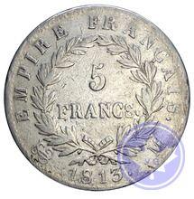 5 francs Napoléon Empereur 1813m  conservation: tb