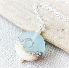 Beach Necklace, Lampwork Sea Glass Wave Necklace, Ocean Jewelry, Beach Jewelry, Beach Wedding, Gift For Her, JBMDesigns, Gift