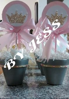 #Princess, Tiara/Crown Center Pieces #babyshower #pink #girl
