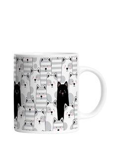 Bílo-šedý pruhovaný hrnek s motivem koček Butter Kings