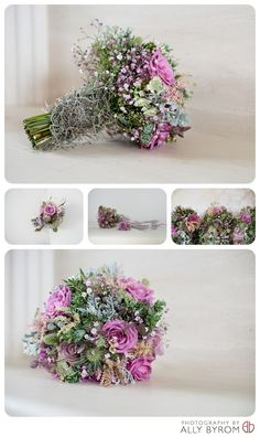 Wedding bouquet, bridal. With moss, ivy, gypsophelia and pink roses. Buttonholes & corsage