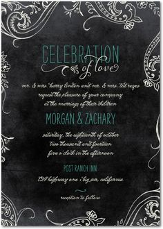 With a chalkboard background and handwritten fonts, this gorgeous wedding invitation is perfect for a DIY wedding celebration. The wedding invitation template can be customized for the bride's needs. Find more unique invitations, save the dates, and more at www.WeddingPaperDivas.com.