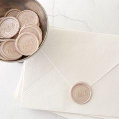 Monogram Self-Adhesive Wax Seals - Style 11 Blush Pink Monogram Wax Seals Wedding Invitation Envelopes, Wedding Stationary, Blush Wedding Stationery, Pastel Pink Weddings, Wedding Stationery Inspiration, Wax Seal Stamp, Wax Letter Seal, Wedding Cards, Wedding Stamps