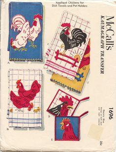 1950s Vintage McCalls 1696 ROOSTER Hen by rosemarysewingbasket