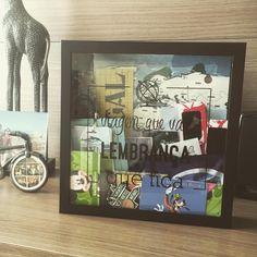 Viagem que vai, lembrança que fica! Quadro caixa, para guardar recordações de viagens. Achei muito legal e comprei para colocarmos algumas lembranças que trazemos das viagens. #casadaflaviakitty
