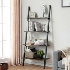 Made of high quality particleboard, each shelf can support items strongly without worrying about easy bending. The powder-coated metal frame is not easy to rust, providing a longer service life. While the ladder shelf shows a leaning appearance, actually all shelf layers lean against the wall at a 90° angle in order to reach maximum stability. Featuring four open shelves, this storage rack is convenient for storing books, potted plants, photo albums or kitchen supplies in an orderly manner.
