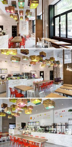 Lighting Design Idea - Painted wooden crates have been used to create pendant lighting in this restaurant. Coffee Shop Design, Cafe Design, Store Design, Restaurant Bar, Restaurant Concept, Restaurant Trends, Restaurant Interior Design, Cafe Interior, Commercial Design