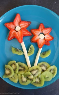 Flower Snack Plate - great food art snack for spring!!