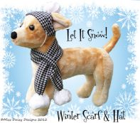 Hat and scarf PDF Dog Clothes Pattern to download, print, cut, and sew.
