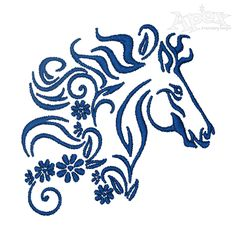 Floral Horse Embroidery Design