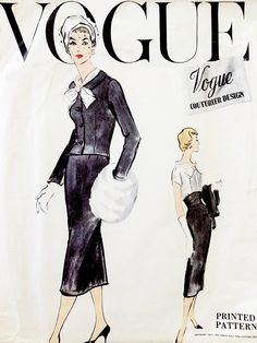 1950s CLASSY Dress and Jacket Pattern VOGUE COUTURIER Design 985 Beautiful Day or Evening Cocktail Party Style Bust 32 Vintage Sewing Pattern