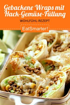Baked wraps with mince and vegetable Gebackene Wraps mit Hack-Gemüse-Füllung Baked wraps with mince and vegetable filling – smarter – time: 30 min. Healthy Meal Prep, Healthy Dinner Recipes, Meal Recipes, Asian Recipes, Drink Tumblr, Carne Picada, Relleno, Lunches, Food Porn