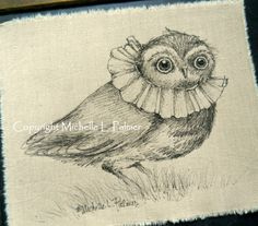 Fancy dressed Owl with Vintage Collar Pen and Ink illustration on fabric by Michelle L. Palmer