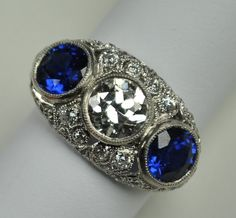Diamond and Sapphire Three Stone Ring by greenhilljewelers on Etsy
