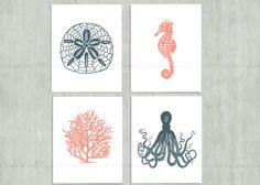Nautical Sea Life set of 4 Wall Art Prints / navy blue and coral /  octopus, seahorse, coral, sand dollar / beach house bathroom decor