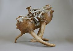 Recent ceramic work by Paul Chenoweth...a two-chambered whistling vessel reminiscent of Incan whistling bottles.