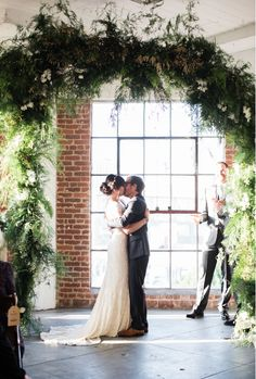 This LA wedding is to pretty for words! We can't wait to share more with you.   Photography: Gregory Ross Flowers: Inessa Nichols Design Gown: 'Harriet' by Karen Willis Holmes   Location: Hudson Loft in DTLA