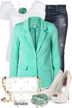 """Mint Jacket"" by stephiebees on Polyvore"