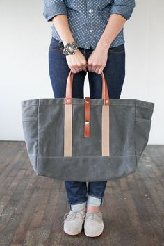 No. 175 Tool / Garden Tote in Slate Waxed Canvas & Russet Leather. $175.00, via Etsy.