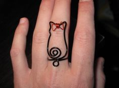 cute cat wire ring