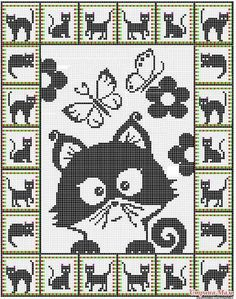 19 ideas for crochet cat pattern posts Cat Cross Stitches, Cross Stitch Charts, Cross Stitch Designs, Cross Stitching, Cross Stitch Embroidery, Embroidery Patterns, Cross Stitch Patterns, Hand Embroidery, Chat Crochet