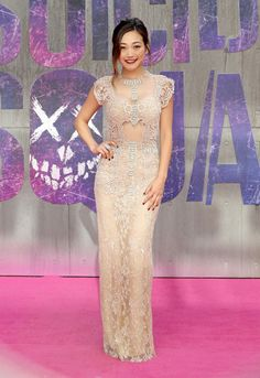 Karen Fukuhara wore a blush lace #ReemAcra Fall 2016 embellished gown to the #SuicideSquad European premiere. The Fashion Court (@TheFashionCourt) | Twitter