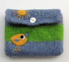 Felted bag wool pouch purse needle felted yellow bird birdie and sun.