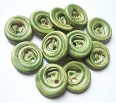 Lichen Green Zipper Ceramic Buttons by buttonalia on Etsy, $24.00