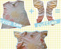 ruffled sleeve when upcycling a shirt How To Make Clothes, Diy Clothes, T Shirt Reconstruction, T Shirt Diy, Tee Shirt, Diy Wardrobe, Diy Tops, Old T Shirts, Diy For Girls