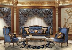 RIMBAUD Classic italian blue sofa for luxury sitting room