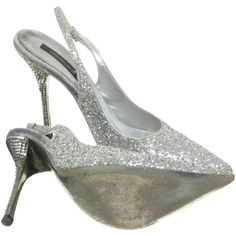 Pre-owned Slingback Pumps in silver ($210) ❤ liked on Polyvore featuring shoes, pumps, slingback pumps, sparkly pumps, silver sparkly shoes, high heel shoes and sparkly shoes