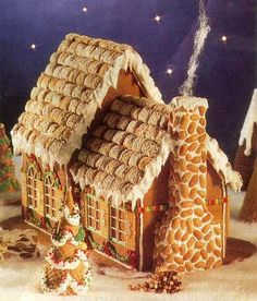 Fairytale Cottage--a gingerbread house frosted mini wheats and peanuts Gingerbread House Designs, Gingerbread House Parties, Gingerbread Village, Christmas Gingerbread House, Noel Christmas, Christmas Goodies, Christmas Treats, Christmas Baking, Christmas Decorations