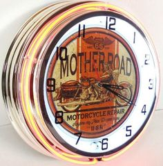 Mother Road Motorcycle 18 Double Neon Light Clock Sign ** Check this awesome product by going to the link at the image.