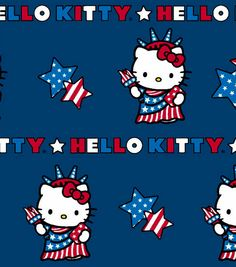 4th of July Hello Kitty Fabric By The Yard by CutiePieCraftSupply, $10.00