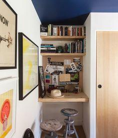 Turn an awkward niche into an efficient mini workspace.